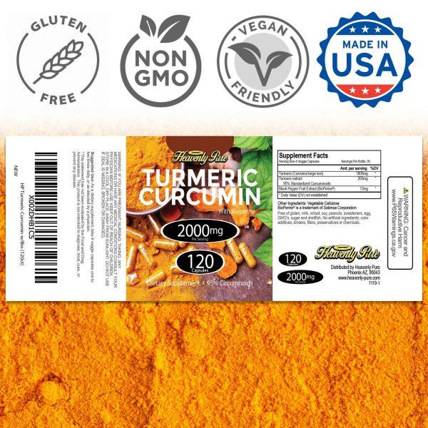 Turmeric Curcumin 2000 mg High Absorption Extra Strength Vegan Capsules 120 Ct 2