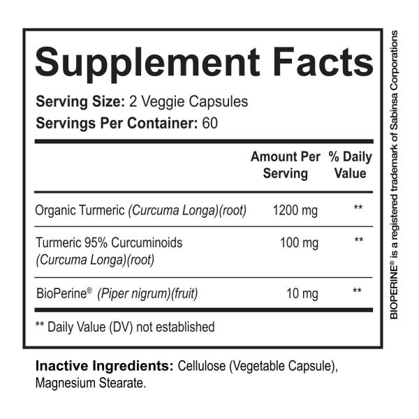 ☀ Turmeric Curcumin with BioPerine Black Pepper 95% Curcuminoids 1300mg 120 caps 10