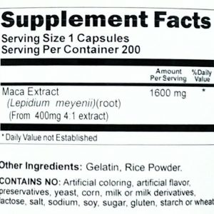 1600mg Maca Root 200 Capsule Herbal 400mg 4:1 Extract Male Female Enhancement VB 1