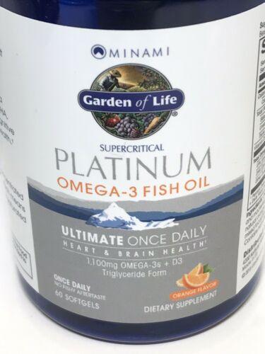 Garden of life Platinum Omega‑3 Fish Oil Orange Flavor 60 Ct Exp 2021+ 1812 1