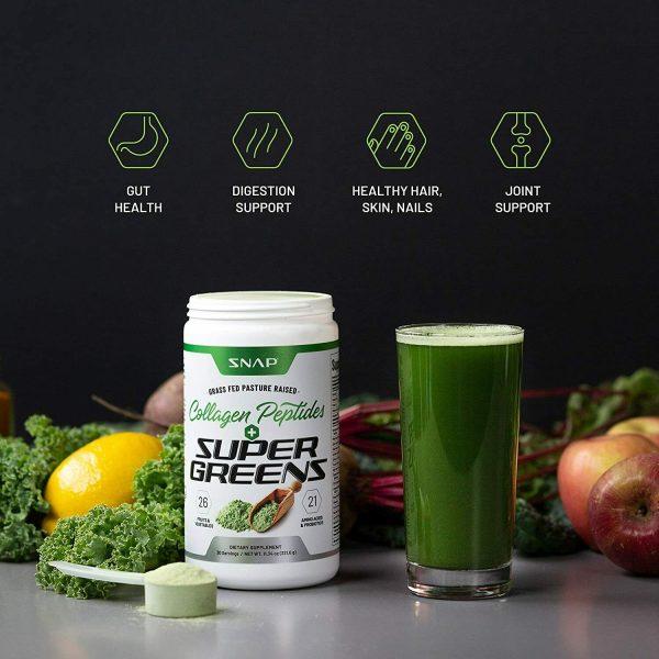 Organic Super Greens Collagen Peptides Powder - Green Juice Superfood - 12 oz 4