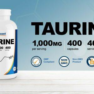 Nutricost Taurine 1000mg, 400 Capsules - Gluten Free & Non-GMO 1
