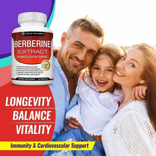 Berberine HCl 1200 MG Premium 90 CAPSULES- (Non-GMO, Gluten Free Vegetarian)  3