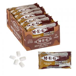 MEG - Military Energy Gum | 100mg caffeine pc | Cinnamon 24 Pack (120 Count) 1