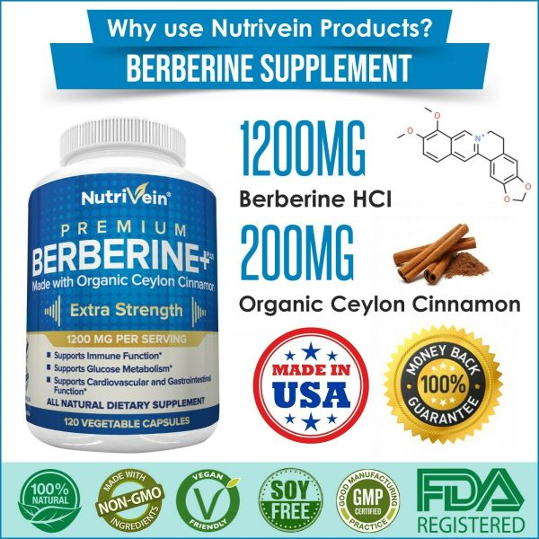 Nutrivein Premium Berberine HCL 1200mg Plus Organic Ceylon Cinnamon - 120 Pills 8