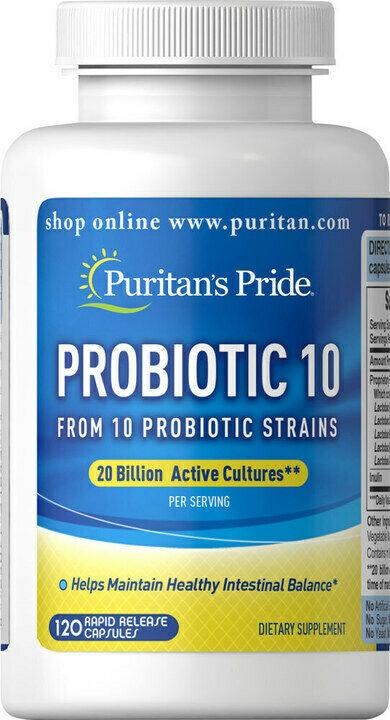 Puritans Pride Probiotic 10 (20 Billion Active Cultures) 120 Capsules