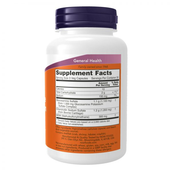 NOW FOODS Glucosamine & Chondroitin w/ MSM 90 Caps Joint Health Soother - FRESH 2