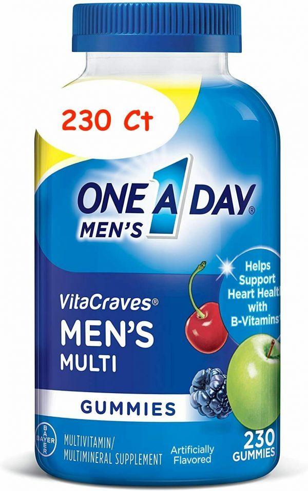 ONE A DAY MEN'S VITA CRAVES GUMMIES 230 Ct MULTIVITAMIN MULTIMINERAL SUPPLEMENT