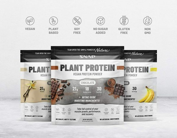 Organic Plant Protein Powder, Muscle Builder & Recovery Vegan Banana 30 Servings 2