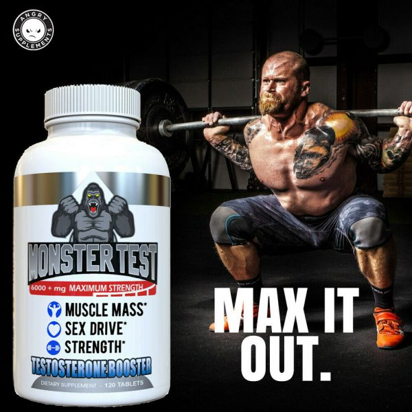 Monster Test Testosterone Booster w Tribulus All Natural For Men 6000mg w/ Zinc 4