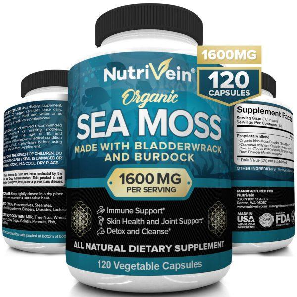 Nutrivein Organic Sea Moss 1600mg plus Bladderwrack & Burdock - Keto, Detox, Gut
