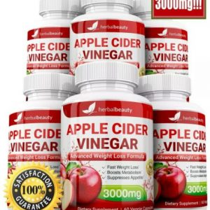 6 x Herbal Beauty APPLE CIDER VINEGAR Pills 3000mg WEIGHT LOSS 360 Capsules USA