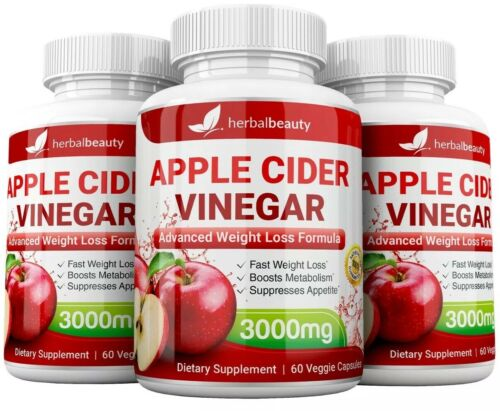 3 x Herbal Beauty APPLE CIDER VINEGAR Pills 3000mg WEIGHT LOSS 180 CAPSULES USA 2