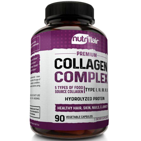 Multi Collagen Pills 5 Types I II III V X Collagen Protein Peptides Complex 2250 3