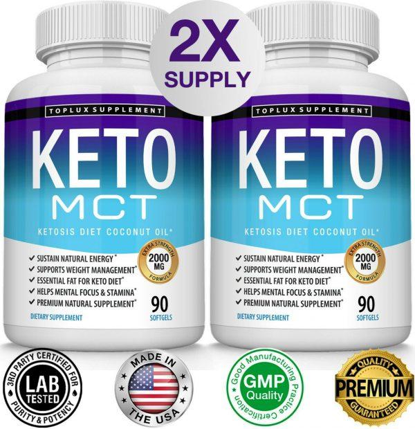 Keto MCT Diet Pills 2000 MG (180 CAPSULES) Weight Loss Fat Burner Supplement