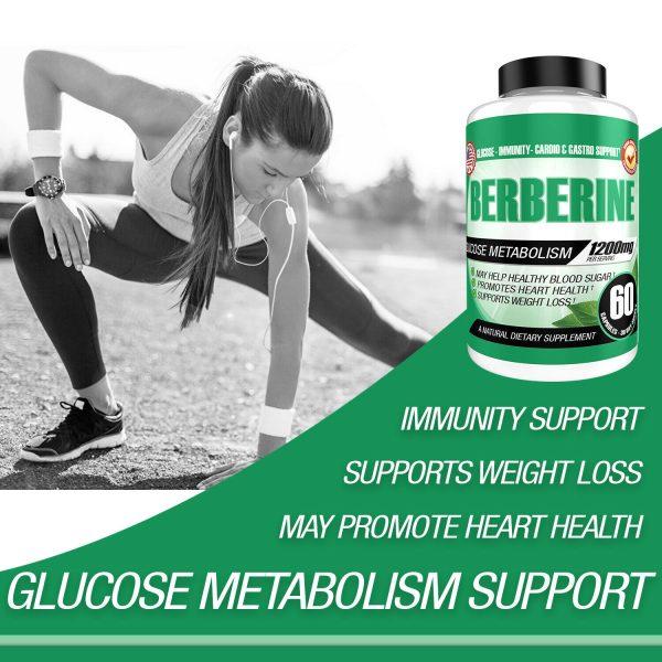 Berberine HCL 1200mg Glucose Metabolism Health Cholesterol Blood Sugar Support 1