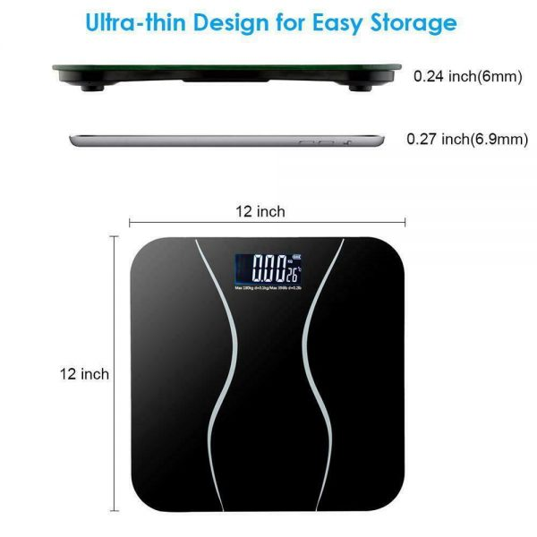 400lb LCD Digital Bathroom Body Weight Scale Tempered Glass Auto Switch 180kg 5