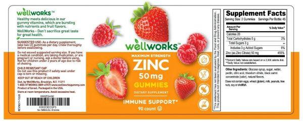 WellWorks Zinc Gummies 50 mg,  Great Tasting Natural Flavor, 90 Gummies 3