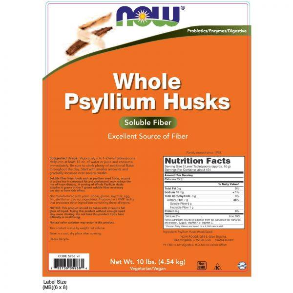 NOW Foods Psyllium Husks, Whole, 10 lb. 1