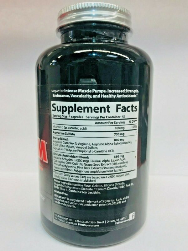 PMD NITRO CM Powered w/AGMATINE-Nitric Oxide Booster 180cap (FREE SHIPPING) 4