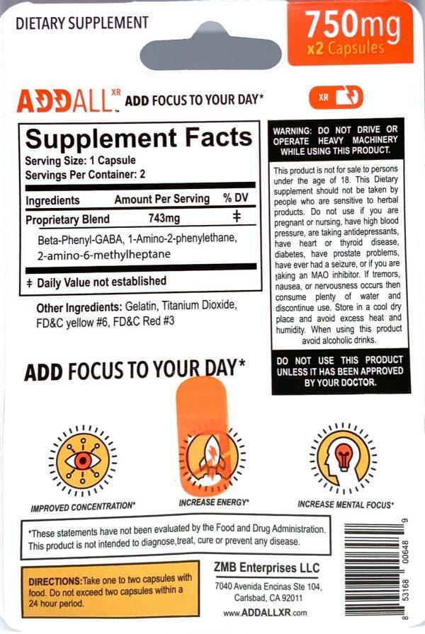 Addall XR Brain Boost Supplement 750mg per pill Fast Ship 3