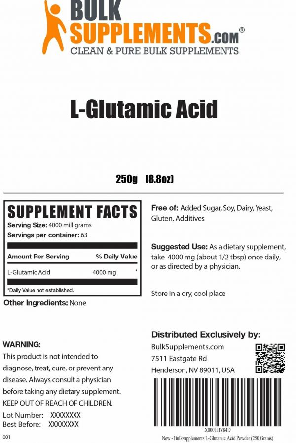 BulkSupplements.com L-Glutamic Acid 2