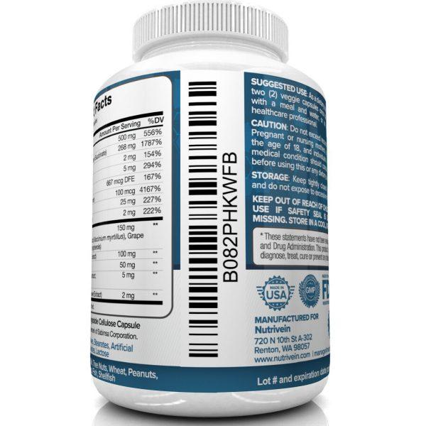 Nutrivein AREDS 2 Eye Vitamins - Supports Eye Strain Dry Eyes - Eye Health Boost 5