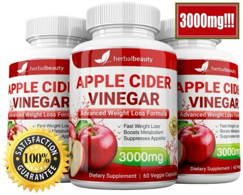 3 x Herbal Beauty APPLE CIDER VINEGAR Pills 3000mg WEIGHT LOSS 180 CAPSULES USA 1