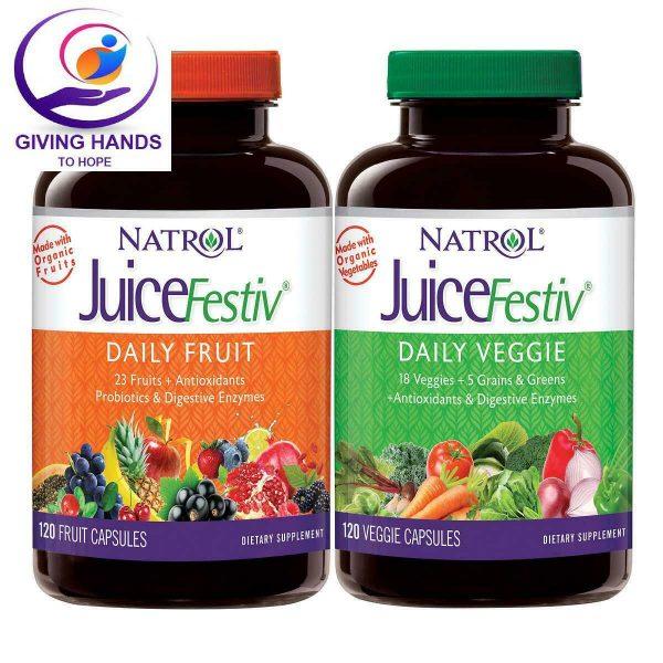 NATROL JUICEFESTIV DAILY FRUIT AND VEGGIE PROBIOTICS ANTIOXIDANTS 240 CAPSULES