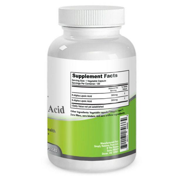 Simply Nature's Pure Alpha Lipoic Acid 600mg 120 veggie 4 month supply ALA R-ALA 3