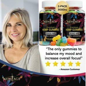 (2 Pack) New Age Naturals Advanced H*mp Big Gummies 3000mg 120ct - 100% Natural  1