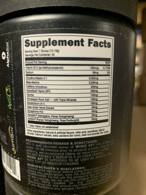 WOKE AF Pre-Workout 30 servings DAS Labs Pick Flavor Fast Free Shipping 6