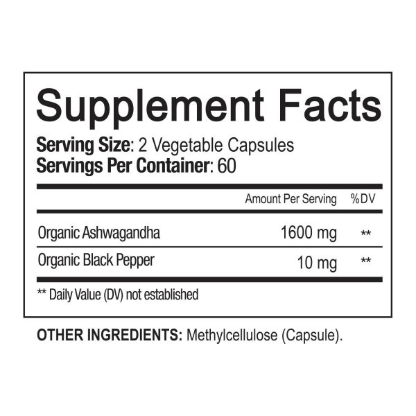 ☀ Organic Ashwagandha Capsules 1600mg 120 Capsules with Black Pepper Root Powder 7