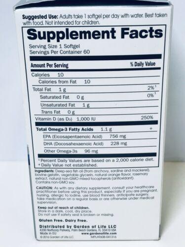 Garden of life Platinum Omega‑3 Fish Oil Orange Flavor 60 Ct Exp 2021+ 1812 9