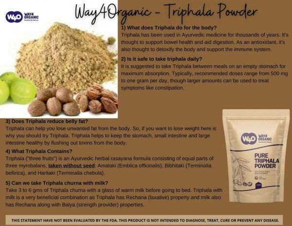 Triphala Powder 16 Oz(1 Pound), Made from Deseeded Amla, Haritaki & Bibhitaki 3
