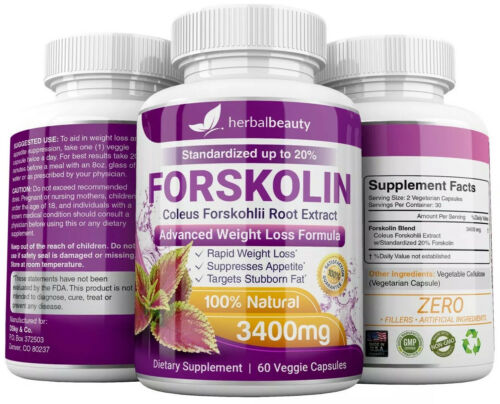 6 x Herbal Beauty FORSKOLIN 3400mg Maximum Strength RAPID RESULTS Pure Extract 6