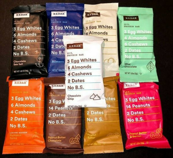 60 Assorted Flavor - RXBAR Whole Food - 12g Protein Bars Similar To Picture