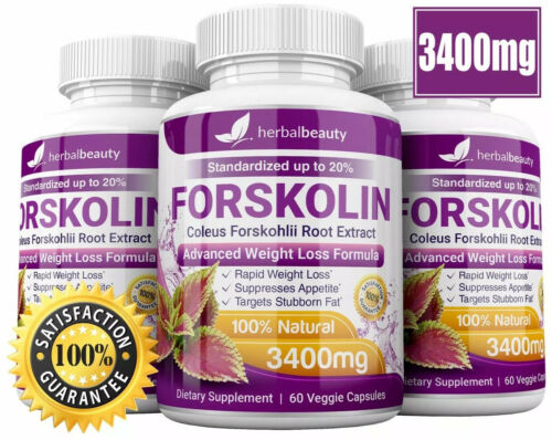 3 x Herbal Beauty FORSKOLIN 3400mg Maximum Strength RAPID RESULTS Pure Extract 10