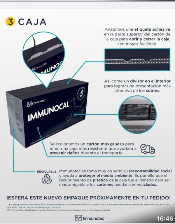 "IMMUNOCAL PLATINUM 1 BOX by IMMUNOTEC ""NEW PACKAGING SAME ORIGINAL PRODUCT""  4"