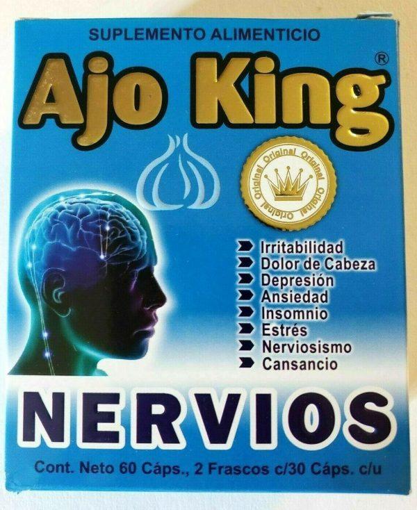 """AJO KING """" NERVIOS """" SUPLEMENTO ALIMENTICIO 60 CAPSULAS 2 FRASCOS DE 30 C/U"""