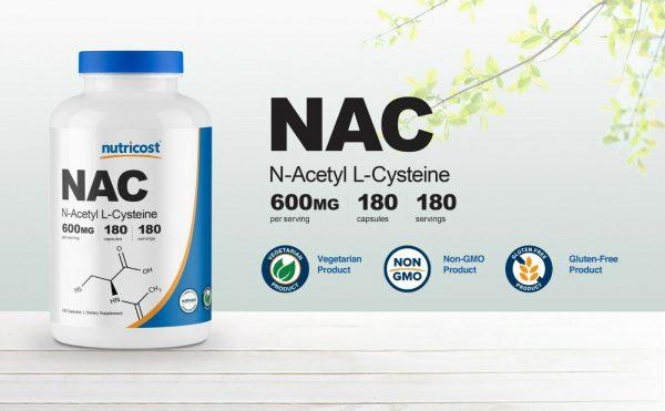 Nutricost N-Acetyl L-Cysteine (NAC) 600mg, 180 Capsules - Non-GMO & Gluten Free 2