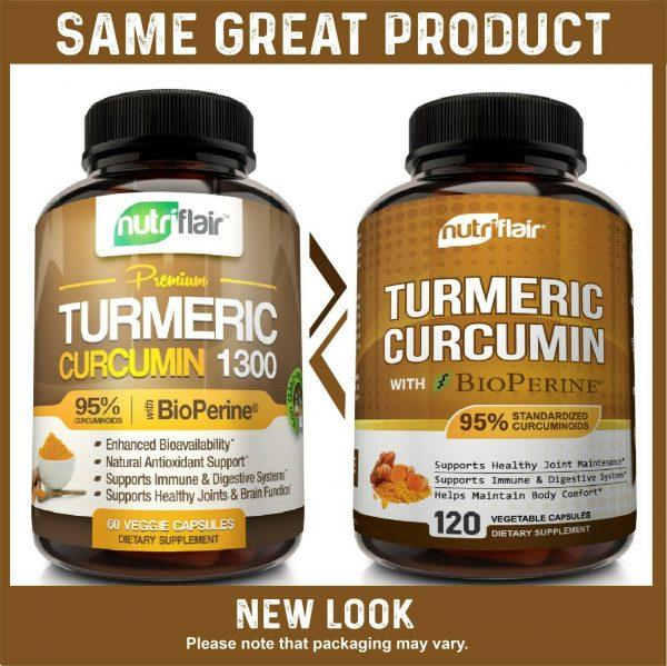 ☀ Turmeric Curcumin with BioPerine Black Pepper 95% Curcuminoids 1300mg 120 caps 1