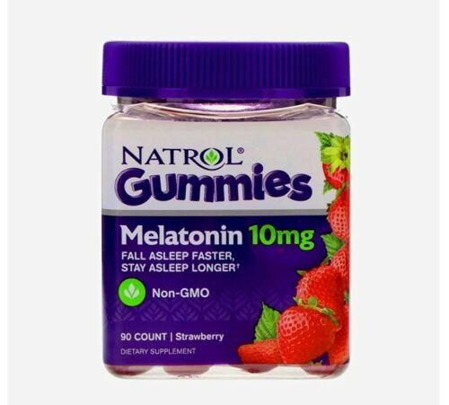 Natrol Melatonin 10mg Gummies.Strawberry Flavor-90ct(1pack).Fast Free Shipping!!