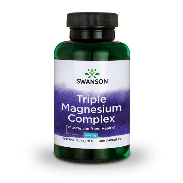 Swanson Triple Magnesium Complex Capsules, 400 mg, 300 Count