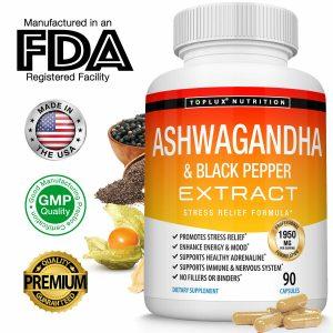 Organic Ashwagandha Capsules 1950 MG - 180 CAPSULE with Black Pepper Root Powder 1