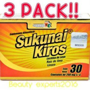 (3) SUKUNAI KIROS 30ea CAPSULES Weight Loss Unisex Ayuda perder de peso 30cu