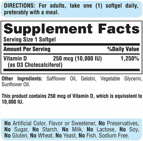 Vitamin D3 10000 IU Puritans Pride Rapid Release 100 Softgels 250 mcg Sunvite 2