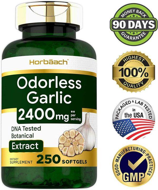 ODORLESS GARLIC Capsule Pills Ultra Potent 250 Softgels Extract 2400 Mg Pills 5