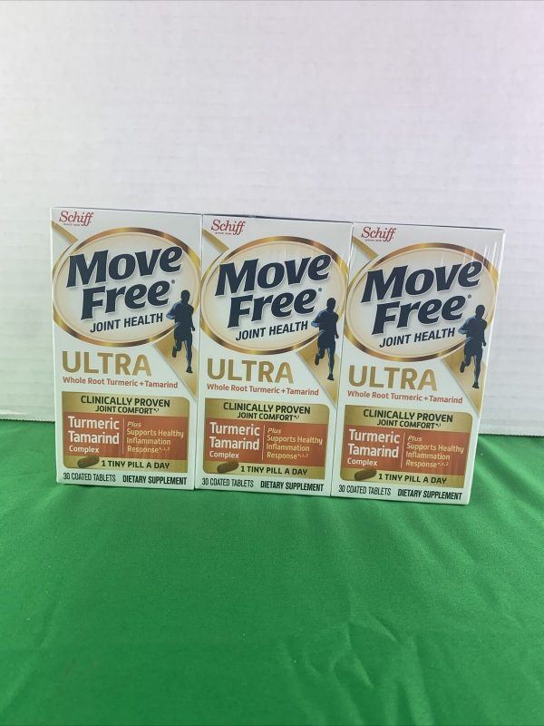 3PK Move Free Joint Health Ultra Turmeric & Tamarind 30 Coated Tablets EXP 3/22