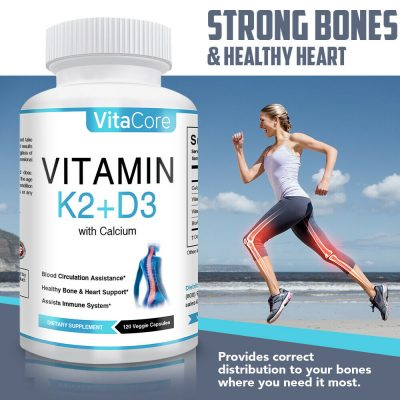 Vitamin K2 (MK7) with D3 5000 IU with Calcium, 120 Capsules ( 4 months supply )